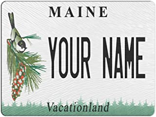 BRGiftShop Personalized Custom Maine State License Plate 11x15 Glass Cutting Board