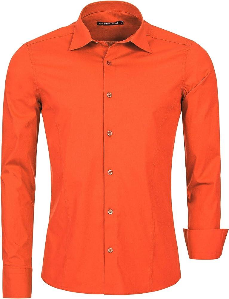 Redbridge, camicia per uomo, 97% cotone, 3% elastan, arancione R-2111S