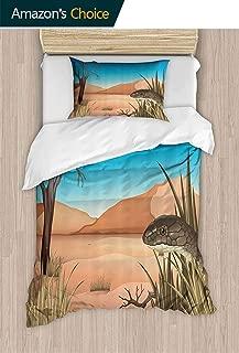 PRUNUSHOME Bedding Comforter Sheet Set Grumpy Snake Looking from Grass Desert Tropical Nature Pois Reptiles Wildlife Polyester 2 Piece Set California King