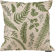 HGOD DESIGNS Leaves Square Pillow Cushion Cover,Green Leaves and Fern Pattern Cotton Linen Cushion Covers Home Decorative Throw Pillowcases 18x18inch