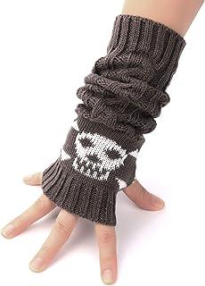 Flammi Unisex Cable Knit Fingerless Arm Warmers Crossbones Jacquard Thumb Hole Gloves Mittens