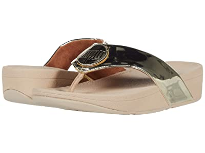 FitFlop Demelza Logo Toe-Post Sandals (Platino) Women
