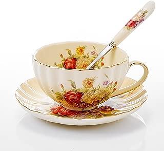 Panbado 3-Piece Gold Rimmed Creative European Luxury Hand Painted Ivory China Flower Tea Coffee Set Porcelain Tea Service with 10 Ounce 5
