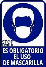 Pegatina COVID, Uso obligatorio de mascarilla, Prevención COVID-19, diseñado para empresas, como medida de protección contra el Coronavirus - Cartel prevención de 13 x 19cm. (Azul Oscuro)