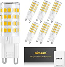 DiCUNO G9 LED Ceramic Base Light Bulbs, 4W (40W Halogen Equivalent), 400LM, Warm White (3000K), G9 Base, G9 Bulbs Non-Dimmable for Home Lighting, 6-Pack