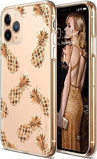 Coolwee iPhone 11 Pro Max Case Rose Gold Pineapple Floral Case Women Girl Men Foil Clear Design Shiny Glitter Hard Back Case Soft TPU Bumper Cover for Apple iPhone 11 Pro Max 6.5 inch 2019 Pineapple