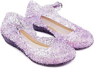 YESNID Girl Princess Cinderella Blue Dance Shoe Mary Janes Sandals Flat for Toddler Little Kids