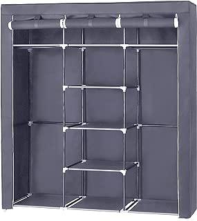 SONGMICS Portable Clothes Closet Non-Woven Fabric Wardrobe Double Rod Storage Organizer Grey 59-Inch URYG12GY