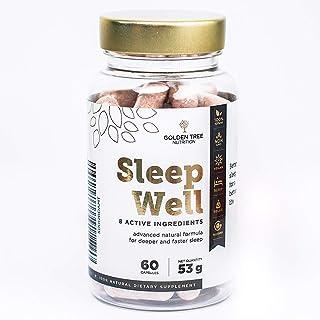 Golden Tree Sleep Well | 5-HTP Extracto de semilla de Griffonia, Magnesio | Solo ingredientes naturales | Lavanda, Valeriana, L-teanina, Montmorency cereza