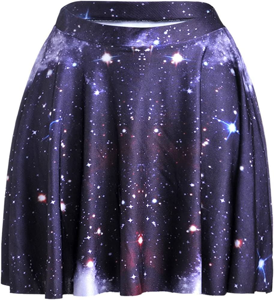 Happy Cool Women's Galaxy Printed Digital Casual Flared Skater Bust Skirt