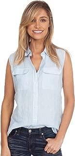 CAMIXA Women's 100% Linen Sleeveless Button-Down Two Pockets Shirt Cool Casual