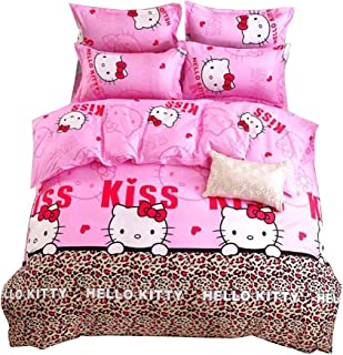 HOLY HOME My Daughter's Birthday Gift Bedding, Leopard Print & Hello Kitty Cat Duvet Cover Set 4 Piece Bedclothes Baby Pink, Twin