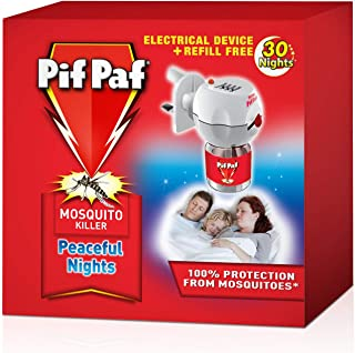 Pif Paf Mosquito and Fly Killer Liquid Electrical Device Kit with 30 Night Refill