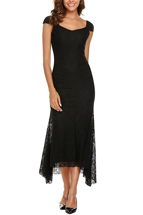ANGVNS Women's V-Neck Cap Sleeve Vintage Floral Lace Maxi Gown Mermaid Evening Party Dress