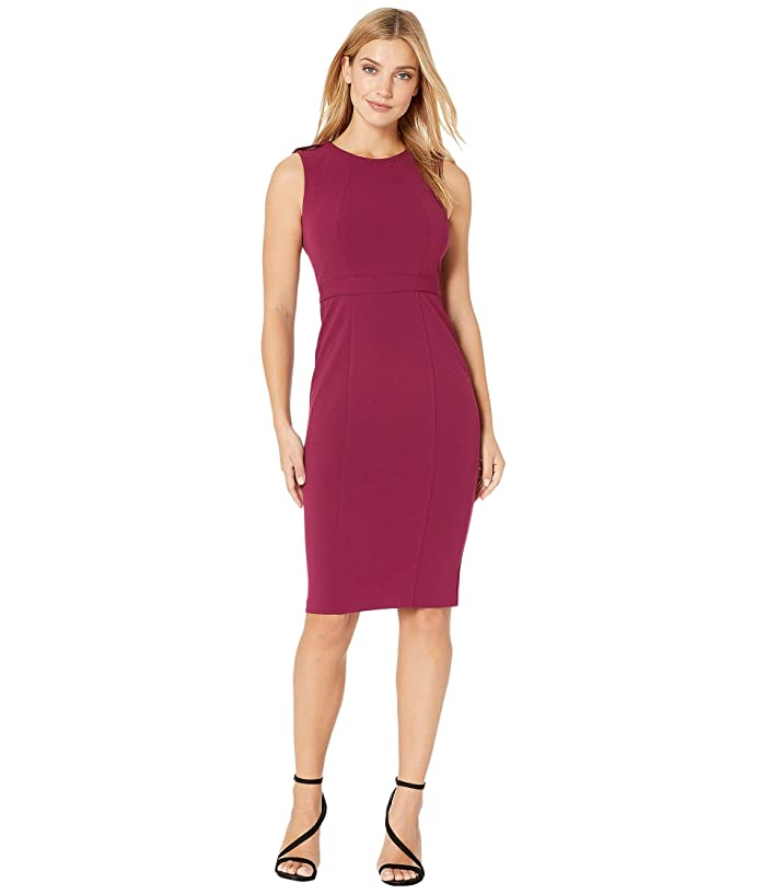 Donna Morgan  Epaulette Detail Stretch Crepe Sheath Dress (Mulberry) Womens Dress