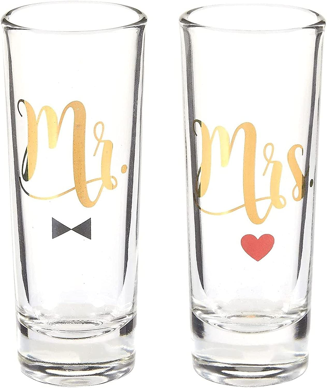 Mr Super-cheap and Mrs Shot Glasses with Gold Gift Set Foil Bride f Groom Ranking integrated 1st place