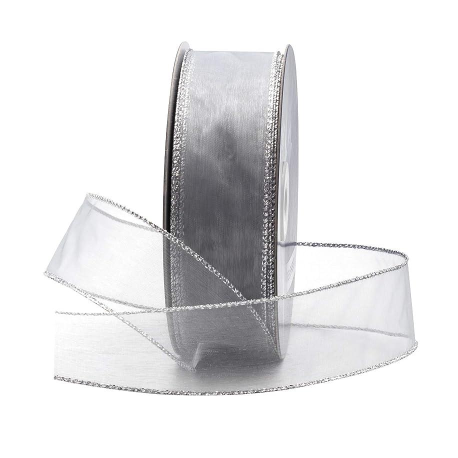 Silver Organza Wired Sheer Ribbon 1.5