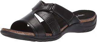Easy Street Women's Frenzy Casual Sandal with Hook and Loop Closure, Black crocodile, 6.5 N US