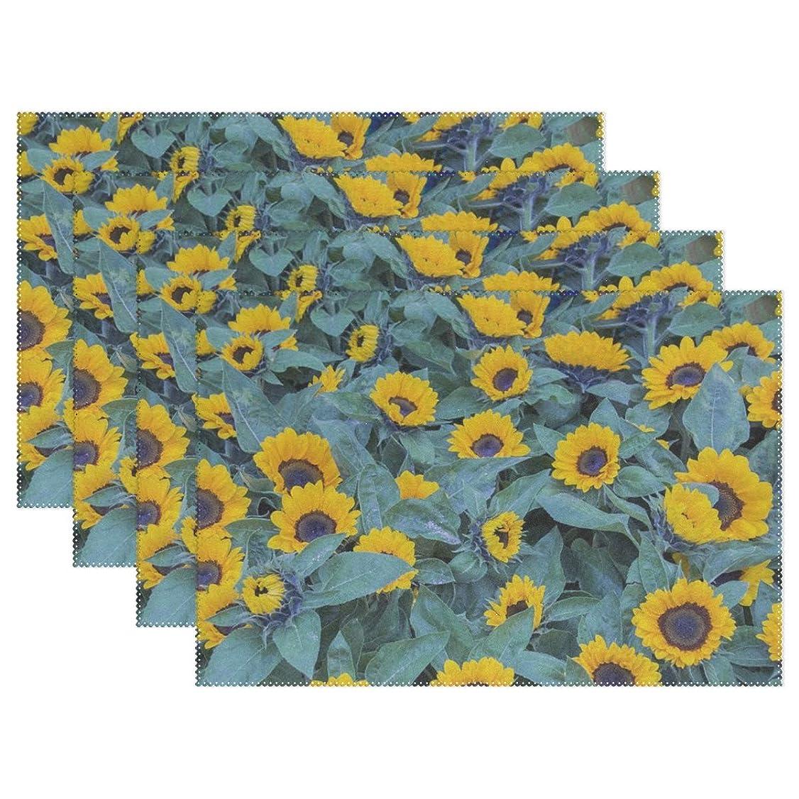 根絶する委託微生物Rhスタジオ場所マット花植物自然夏の庭プレートパッドセットの4洗える耐熱汚れ耐性食べるテーブルマットホームディナー装飾
