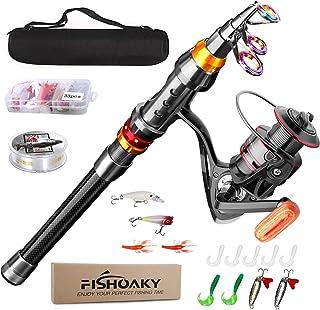 FISHOAKY Fishing Rod kit, Carbon Fiber Reel Combo Pole...