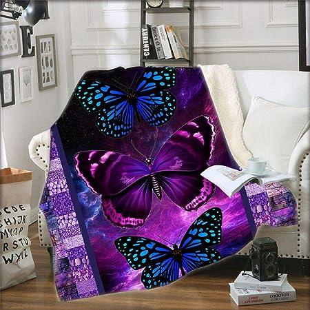 Amazon Com Sleepwish Butterfly Blankets And Throws Sherpa Throw Blanket Super Soft Reversible Ultra Luxurious Fleece Plush Blanket Purple Rainbow Butterflies Design Throw 50 X60 Home Kitchen