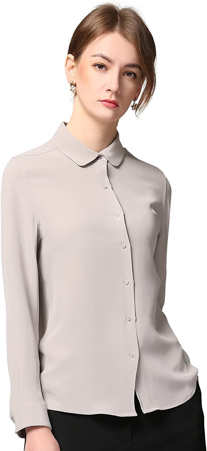 Chesslyre 100% Silk Shirt for Women,Button Down Slim Fitted Long Sleeve Silk Blouse