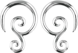 Pair of 6G-14G Surgical Steel Solid Tribal Design Taper Earrings
