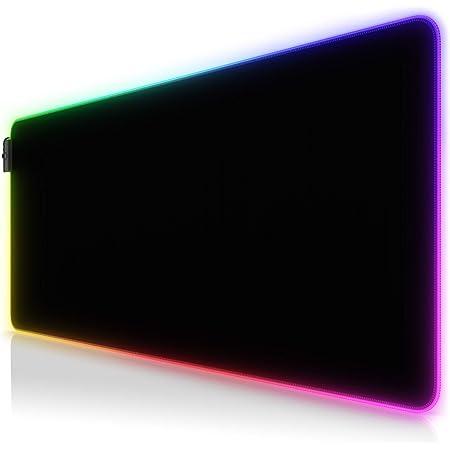 CSL - XXL RGB Gaming Mauspad - LED Schreibtischunterlage - 900x400 mm Übergröße - XXL Mousepad - LED Multi Color - 11 Beleuchtungs-Modi - 7 LED Farben Plus 4 Effektmodi - abwaschbar - schwarz
