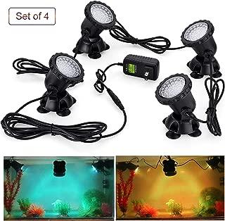 CPROSP 36 LED Pond Lights 3.5W/Light Multi-Color Waterproof IP68 Submersible Spotlight Underwater Lights Color Changing Spot Light