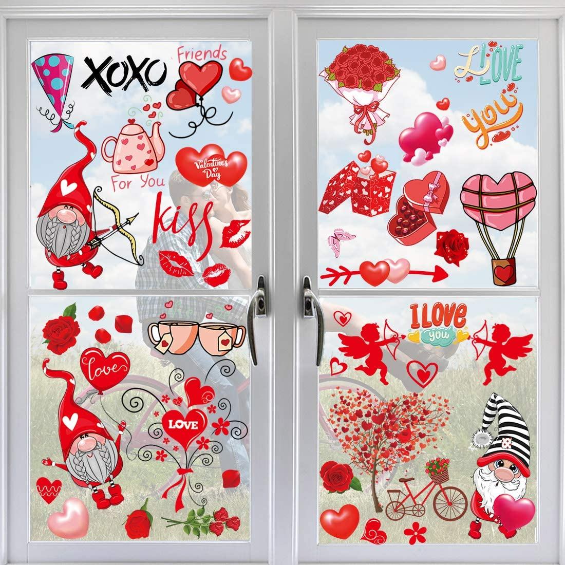 ricluck Valentine's Boston Mall Day Window Clings 9 Decorations Luxury goods Sheets Windo