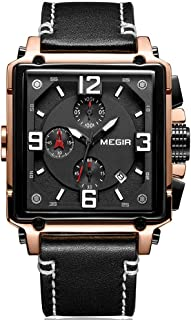 Megir Men's Sports Chronograph Quartz Watches Leather Silicone Waterproof Luminous Army Wristwatch Man