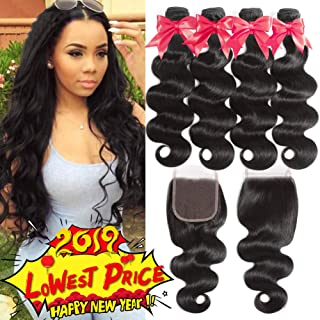 Flady 10A Brazilian Body Wave Hair 4 Bundles with Closure 100% Unprocessed Virgin Human Hair Bundles with 4x4 Free Part Closure (14 16 18 20+12inch)