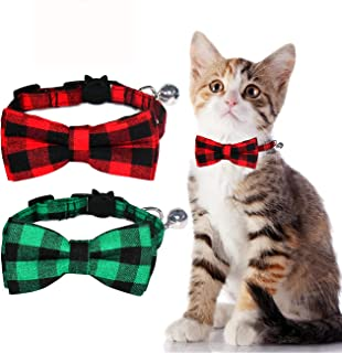 Malier Cat Collar with Bow tie and Bell Adorable Collar with Light Adjustable Buckle Suitable for Kitten Kitty Cats Puppy