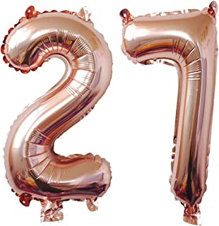 40inch Rose Gold Foil 27 Helium Jumbo Digital Number Balloons, 27th Birthday Decoration for Girls or Boys,27 Birthday Party Supplies