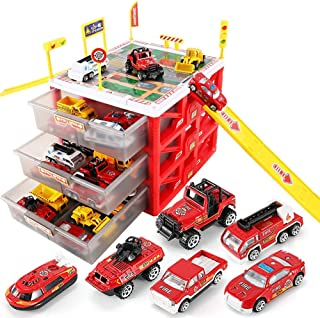 WISHTIME Parking Lot Car Garage Playset - Vehicle Toy Car Storage Box Play Construction Truck Toys Set Educational Gift with 6 Alloy Die-cast Cars, Ramps, Traffic Signs for Kid Toddlers