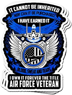 shopdoz 3 PCs Stickers It Can Not Be Inherited Air Force Veteran 4 × 3 Inch Die-Cut Wall Decals for Laptop Window