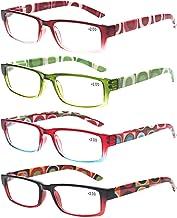 4 Pack Fashion Reading Glasses Women Men Spring Hinges