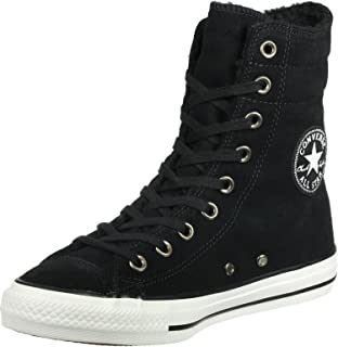 Chuck Taylor All Star Hi Rise Black/Egret Suede Sneakers 553420C Women Boot Shoes