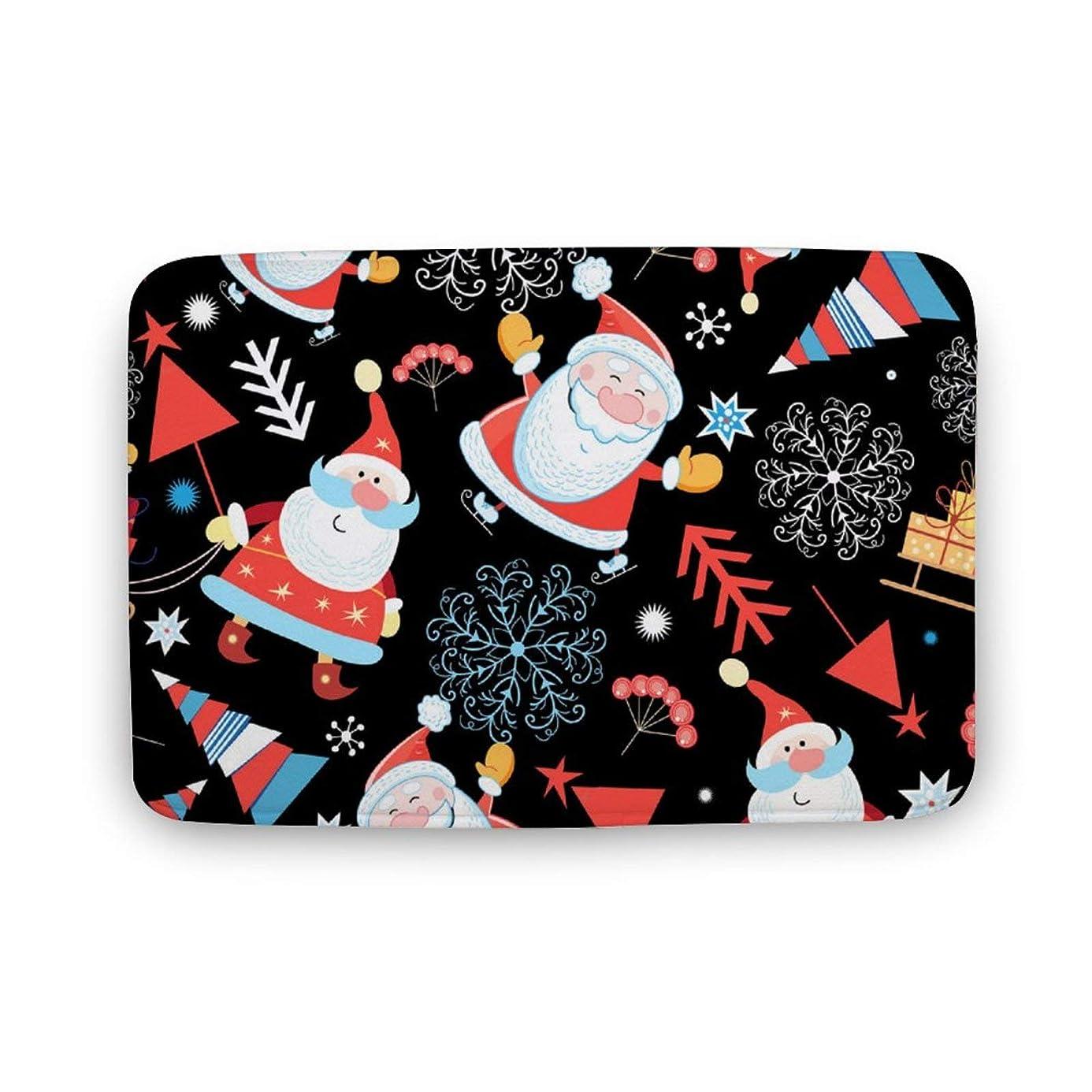 聖職者くびれた発明するサンタクロースとクリスマス ノンスリップドアマット敷物床マット屋内屋外寝室リビングルームキッチン 2サイズ