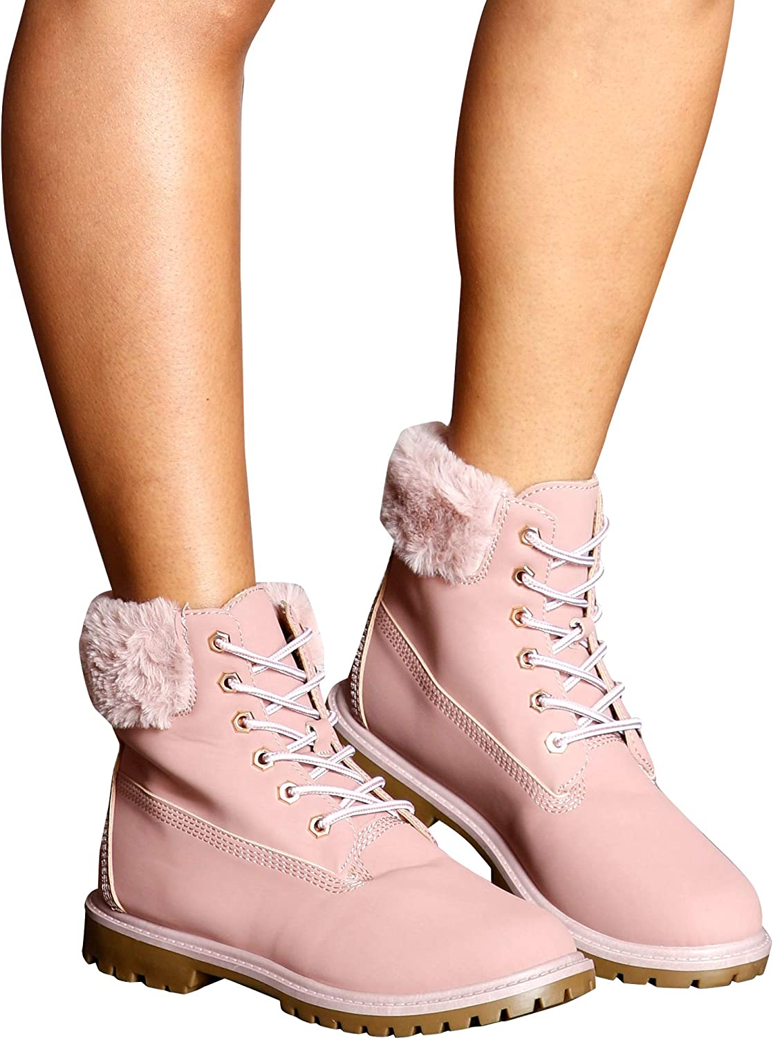 Bamboo Women's Casual Fur Top Lace Up Ankle Booties Pink