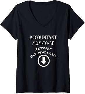 Womens Accountant Mom-to-Be Future Tax Deduction V-Neck T-Shirt