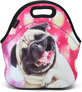 ICOLOR Happy Pug Insulated Neoprene Lunch Bag, Waterproof Food Storage Carrying Case, Boys Girls School Office Work Lunch Tote Bag Cooler, Kids Adults Travel Outdoor Picnic Food Container(HST-LB-054)