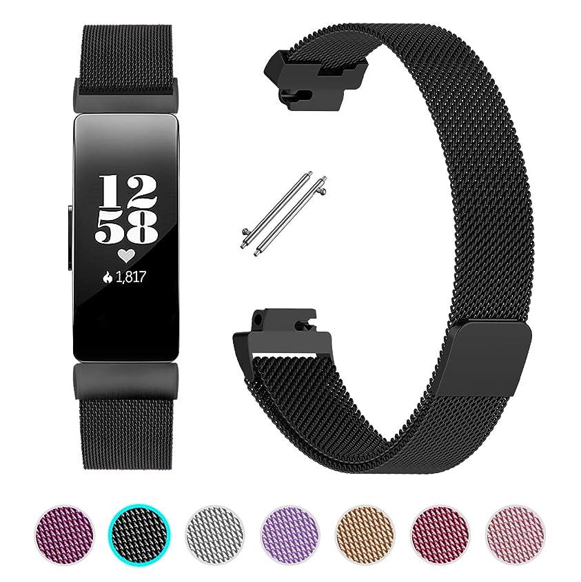 暗殺するストレスの多いギャロップLittleForest For Fitbit Inspire HR/Inspire バンド ステンレス鋼 交換用バンド マグネットロック ベルト Fitbit Inspire 耐水性能 多色選択 調整自由 2サイズ (Small ブラック)