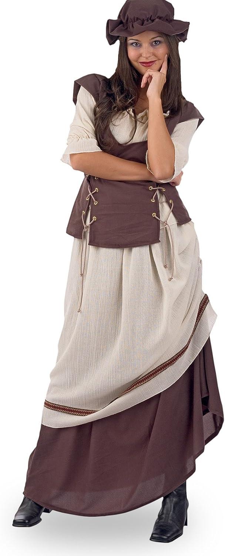 Elbenwald Market Woman Ladies Costume Medieval Garb 3tlg Skirt Blouse Hood Brown Beige