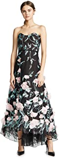 Marchesa Notte Women's Strapless High Low Embroidered Gown with 3D Flowers
