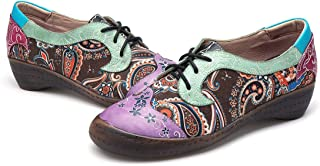 gracosy Women's Leather Oxford Shoes, Retro Handmade Vintage Oxford Casual Flat Loafers with Flower Splicing Pattern