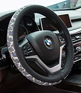 Crystal Diamond Steering Wheel Cover, PU Leather with Colorful Leopard Bling Bling Rhinestones, Universal 15inch / 38cm for Women Girls, Blue