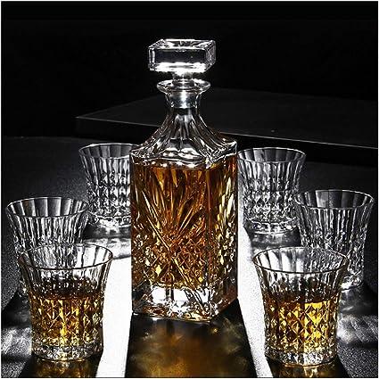 LSRRYD 7-Piece Whiskey Gift Set con 6 Vasos Únicos Sin Plomo ...