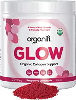 Organifi: Glow- Organic Collagen Supplement Powder - USDA Certified Organic & Vegan - Superior Hydration, Build Collagen, Achieve Radiant Skin - Potent Superfood Blend