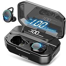 HEYMIX True Wireless Earbuds Bluetooth 5.0 Headphones w/Mic, , IPX7 Waterproof Earphones for Sports, 3D Stereo Audio Touch...